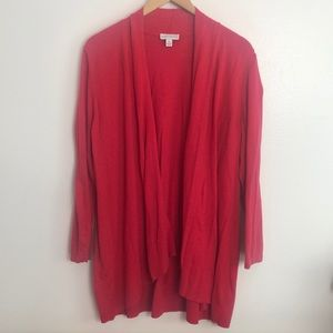 Susan Graver red open front cardigan sweater sz XL